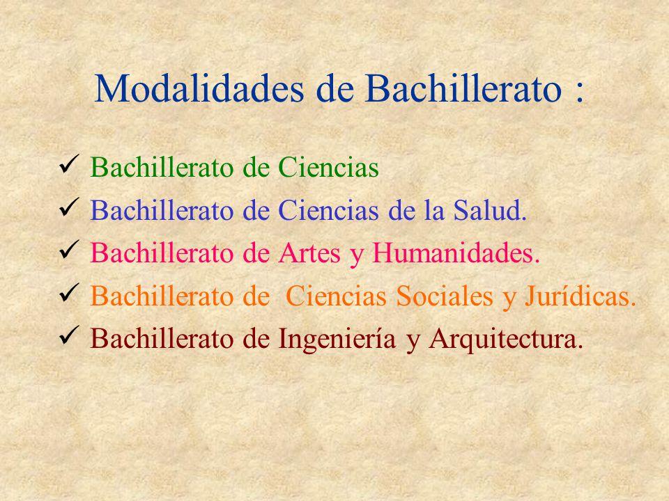 Modalidades de Bachillerato :