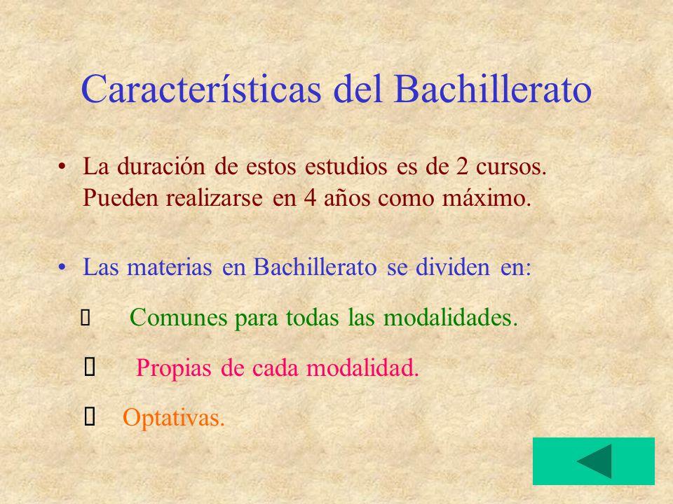 Características del Bachillerato