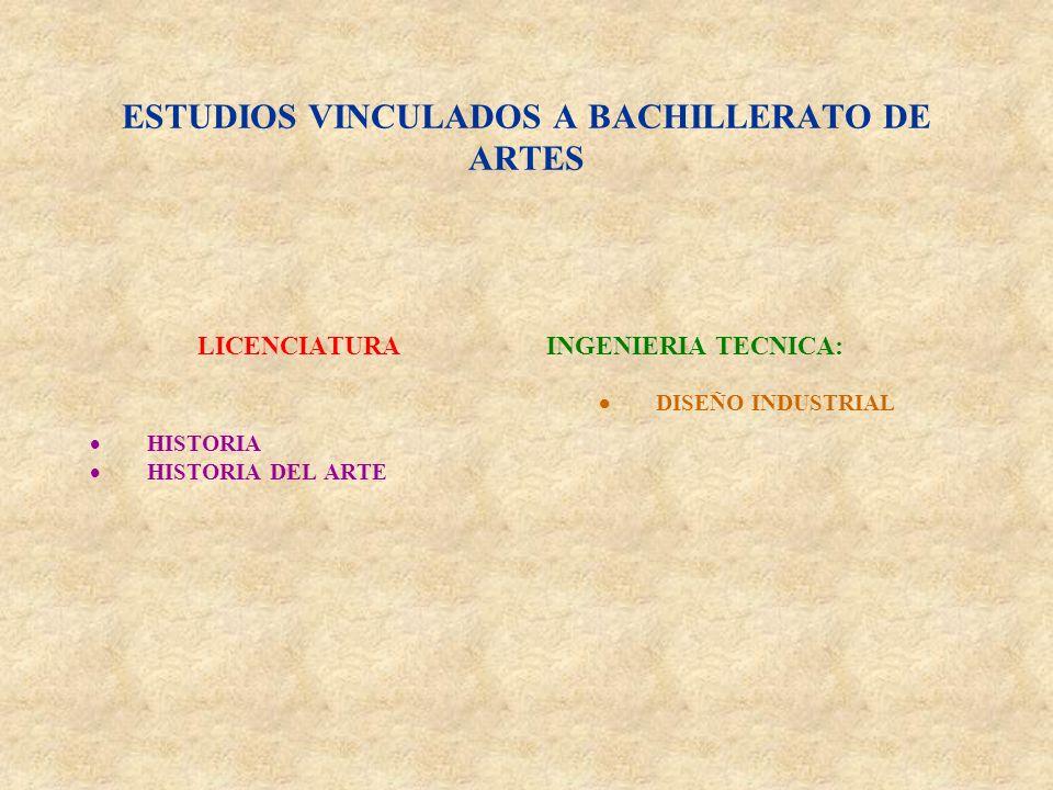 ESTUDIOS VINCULADOS A BACHILLERATO DE ARTES