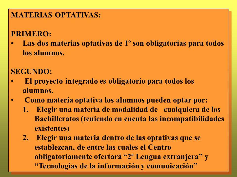 MATERIAS OPTATIVAS: PRIMERO: Las dos materias optativas de 1º son obligatorias para todos los alumnos.