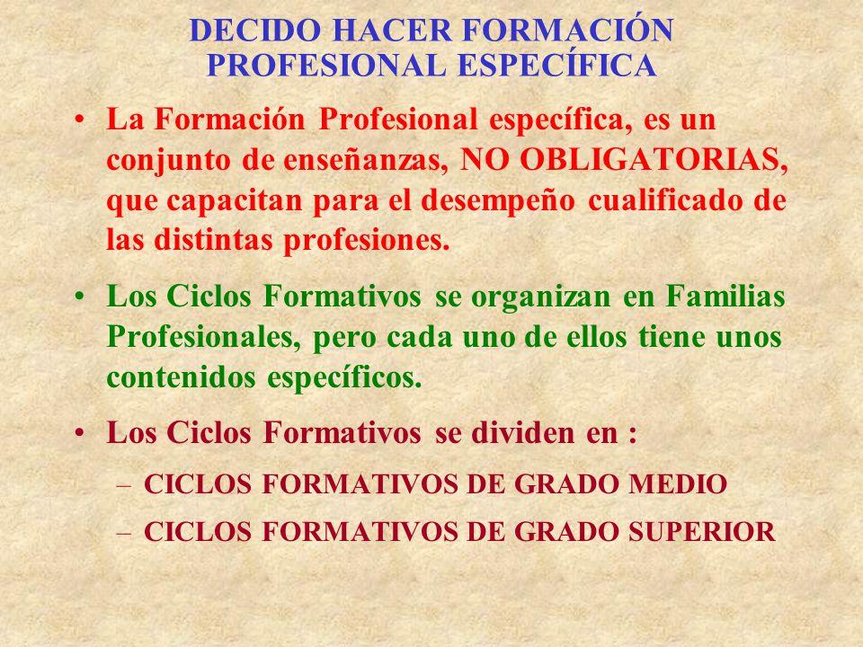DECIDO HACER FORMACIÓN PROFESIONAL ESPECÍFICA