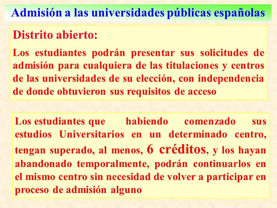 Admisión a las universidades públicas españolas