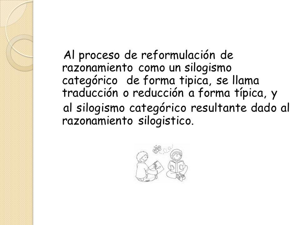 Al proceso de reformulación de razonamiento como un silogismo categórico de forma tipica, se llama traducción o reducción a forma típica, y al silogismo categórico resultante dado al razonamiento silogistico.