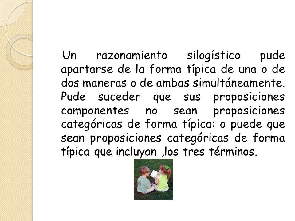 Un razonamiento silogístico pude apartarse de la forma típica de una o de dos maneras o de ambas simultáneamente.
