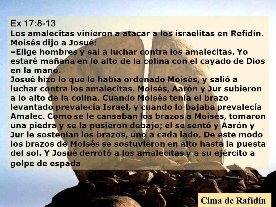 Ex 17:8-13 Los amalecitas vinieron a atacar a los israelitas en Refidín. Moisés dijo a Josué: –Elige hombres y sal a luchar contra los amalecitas. Yo estaré mañana en lo alto de la colina con el cayado de Dios en la mano. Josué hizo lo que le había ordenado Moisés, y salió a luchar contra los amalecitas. Moisés, Aarón y Jur subieron a lo alto de la colina. Cuando Moisés tenía el brazo levantado prevalecía Israel, y cuando lo bajaba prevalecía Amalec. Como se le cansaban los brazos a Moisés, tomaron una piedra y se la pusieron debajo; él se sentó y Aarón y Jur le sostenían los brazos, uno a cada lado. De este modo los brazos de Moisés se sostuvieron en alto hasta la puesta del sol. Y Josué derrotó a los amalecitas y a su ejército a golpe de espada