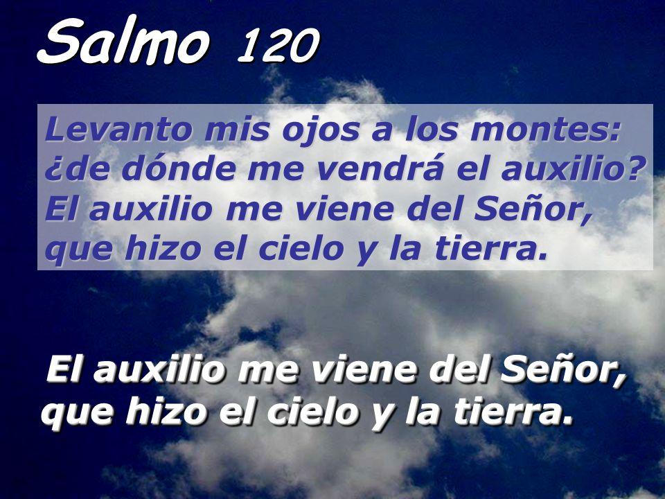 Salmo 120 Levanto mis ojos a los montes: ¿de dónde me vendrá el auxilio El auxilio me viene del Señor, que hizo el cielo y la tierra.