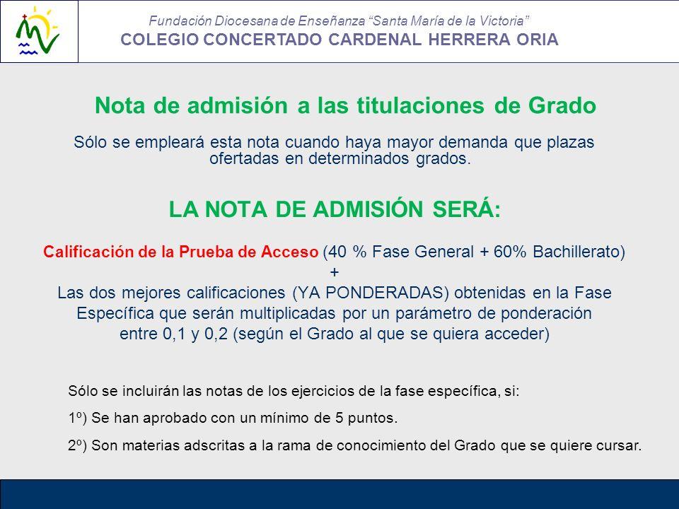 Nota de admisión a las titulaciones de Grado