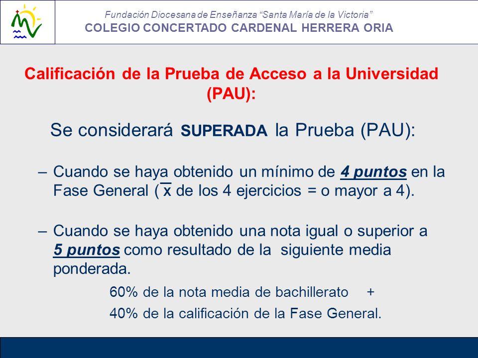 Calificación de la Prueba de Acceso a la Universidad (PAU):
