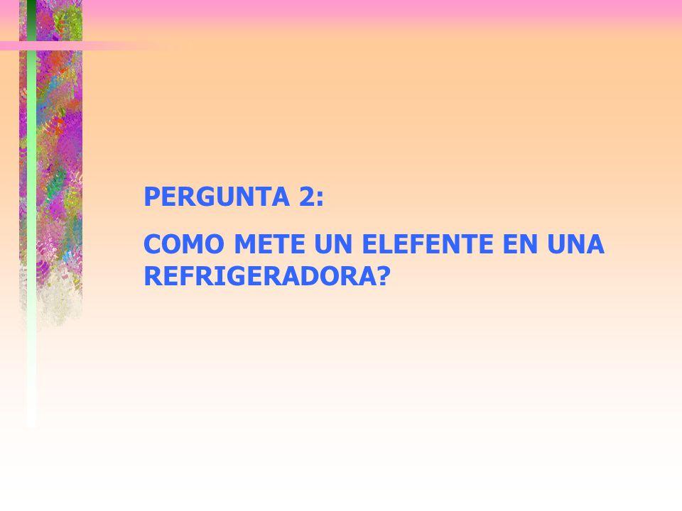 PERGUNTA 2: COMO METE UN ELEFENTE EN UNA REFRIGERADORA