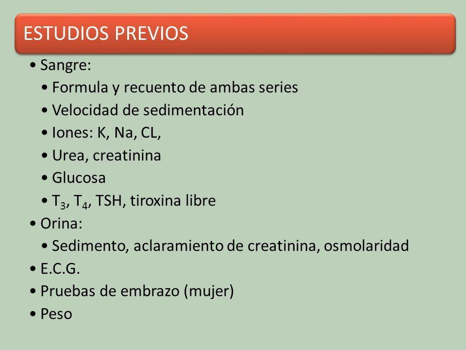 ESTUDIOS PREVIOS Sangre: Formula y recuento de ambas series. Velocidad de sedimentación. Iones: K, Na, CL,