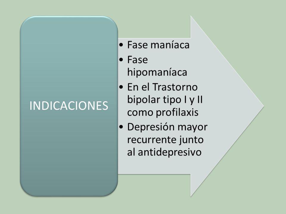 INDICACIONES Fase maníaca. Fase hipomaníaca. En el Trastorno bipolar tipo I y II como profilaxis.