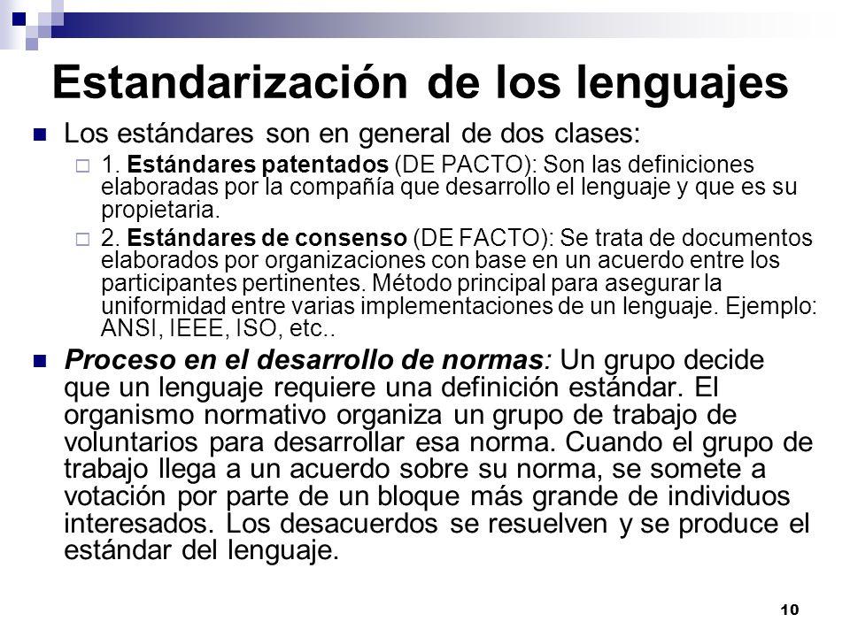 Estandarización de los lenguajes