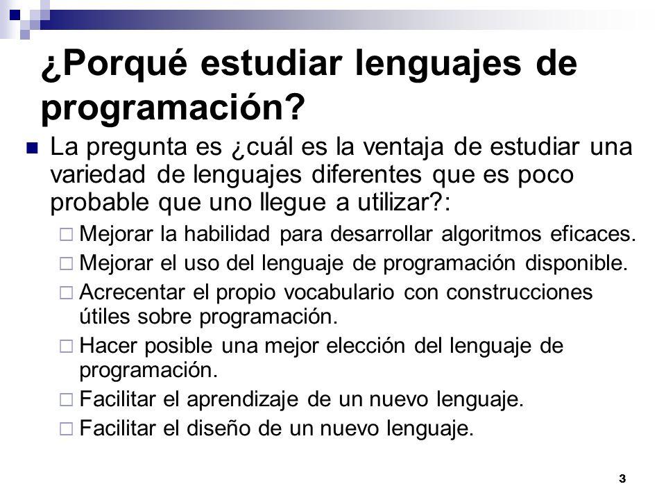 ¿Porqué estudiar lenguajes de programación