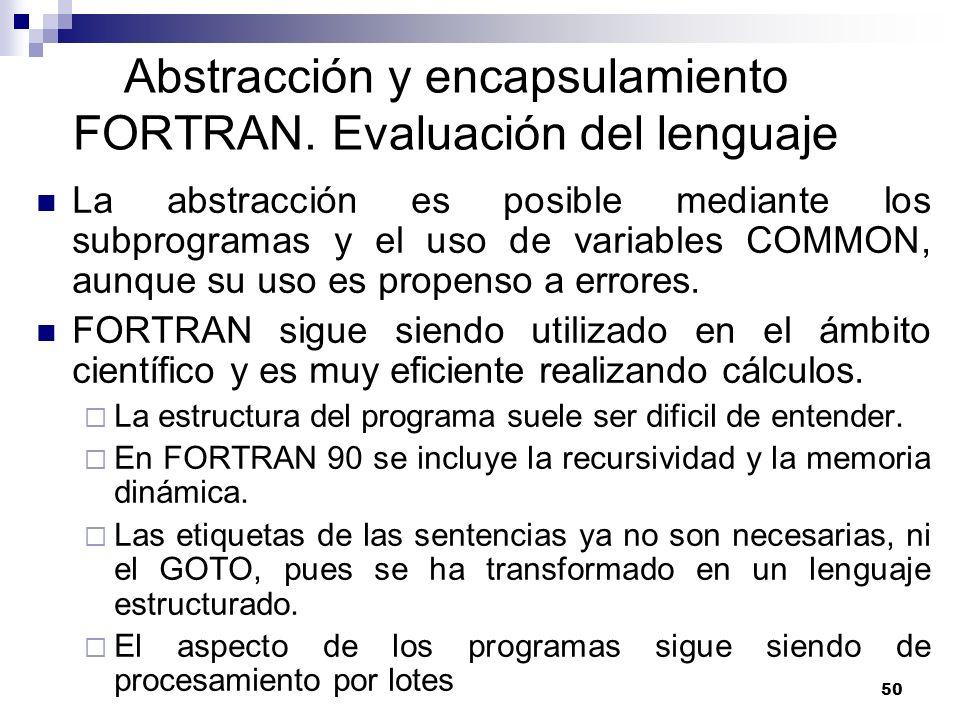 Abstracción y encapsulamiento FORTRAN. Evaluación del lenguaje