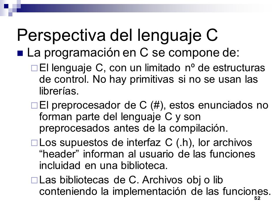 Perspectiva del lenguaje C