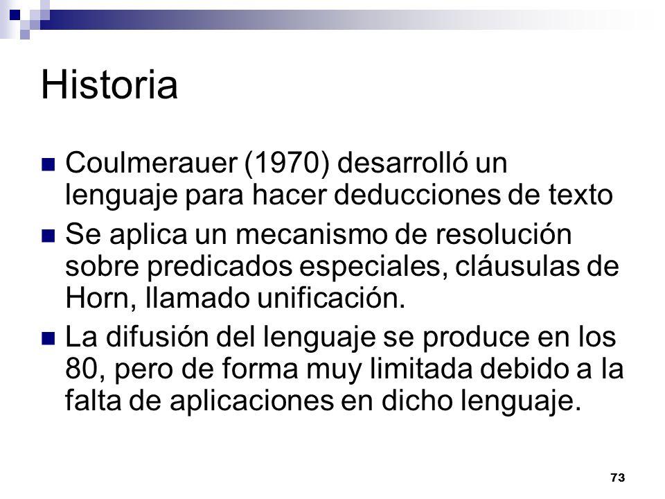 Historia Coulmerauer (1970) desarrolló un lenguaje para hacer deducciones de texto.