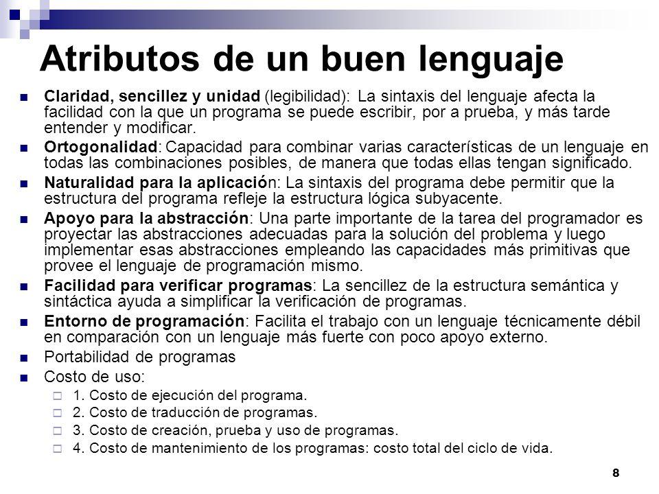Atributos de un buen lenguaje