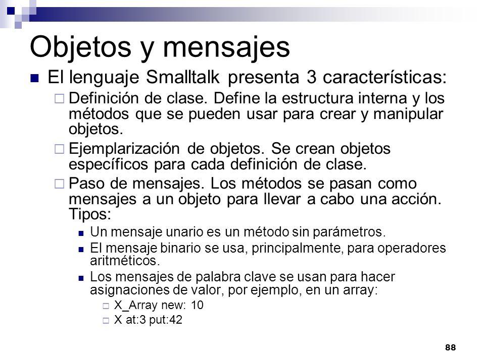 Objetos y mensajes El lenguaje Smalltalk presenta 3 características: