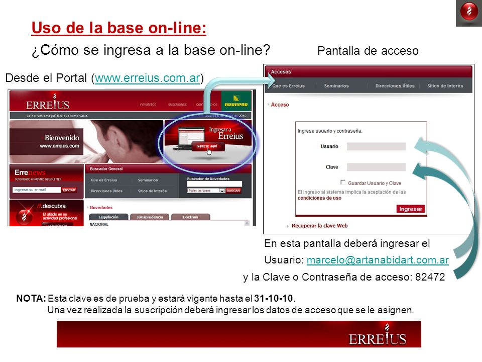 Uso de la base on-line: ¿Cómo se ingresa a la base on-line