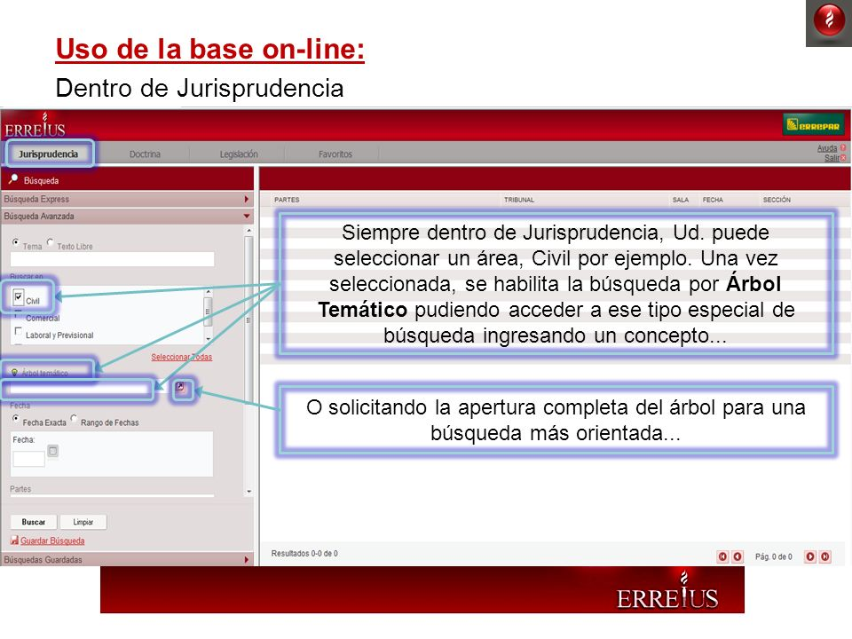Uso de la base on-line: Dentro de Jurisprudencia