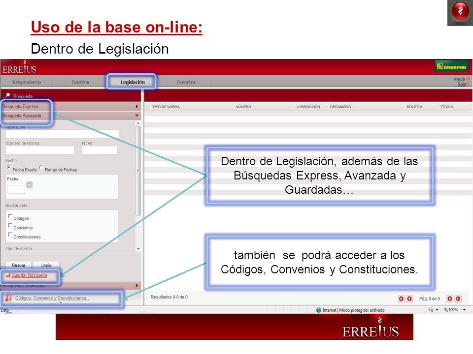 también se podrá acceder a los Códigos, Convenios y Constituciones.