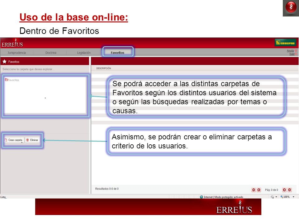 Uso de la base on-line: Dentro de Favoritos
