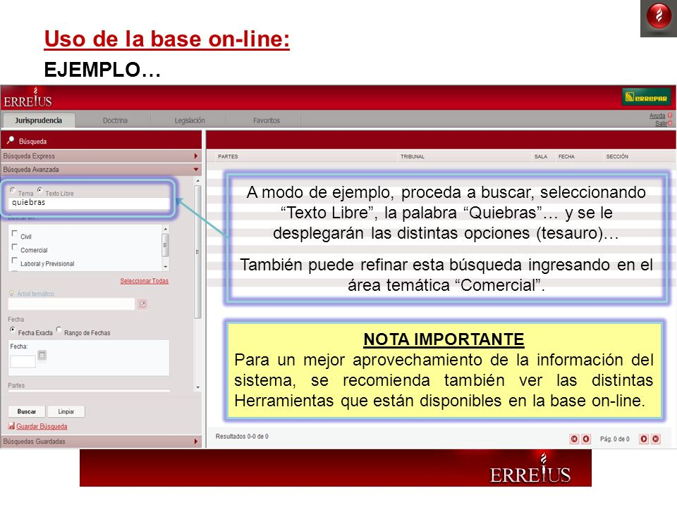 Uso de la base on-line: EJEMPLO… . .