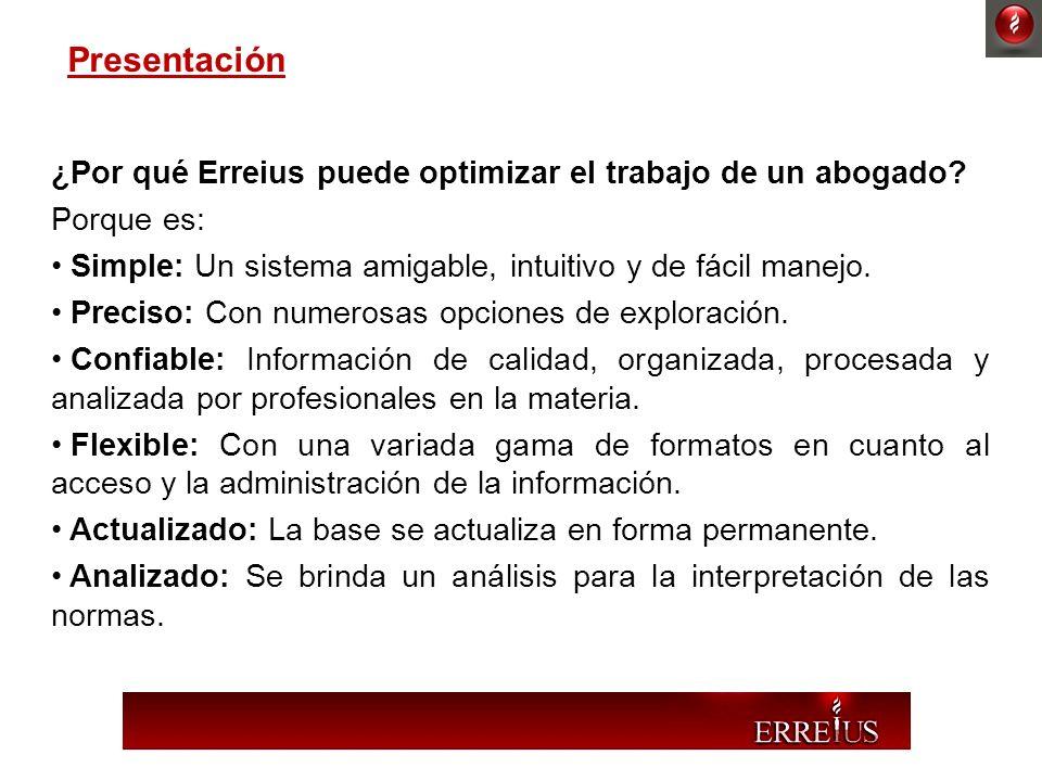 Presentación ¿Por qué Erreius puede optimizar el trabajo de un abogado Porque es: Simple: Un sistema amigable, intuitivo y de fácil manejo.