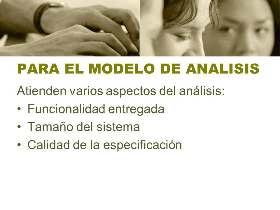 PARA EL MODELO DE ANALISIS