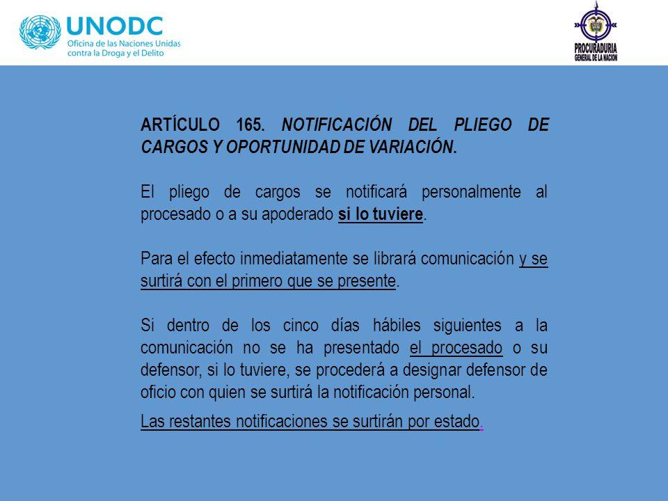 ARTÍCULO 165. NOTIFICACIÓN DEL PLIEGO DE CARGOS Y OPORTUNIDAD DE VARIACIÓN.