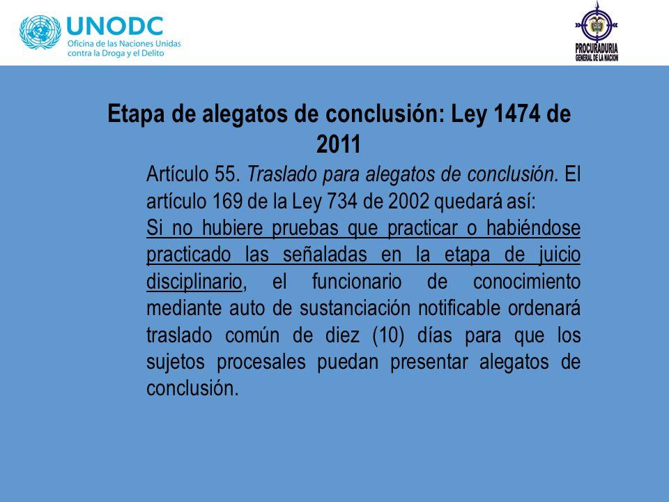 Etapa de alegatos de conclusión: Ley 1474 de 2011