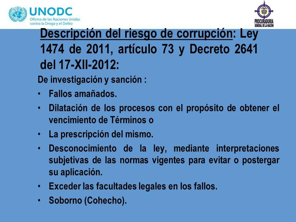 Descripción del riesgo de corrupción: Ley 1474 de 2011, artículo 73 y Decreto 2641 del 17-XII-2012: