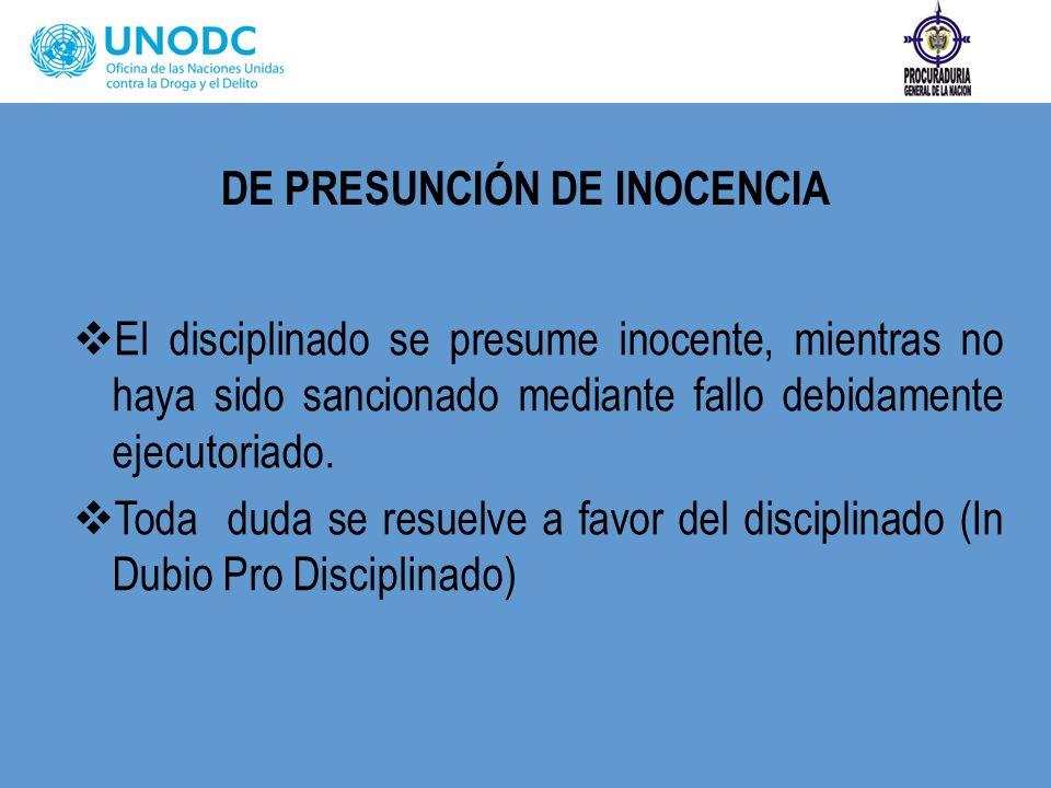 DE PRESUNCIÓN DE INOCENCIA