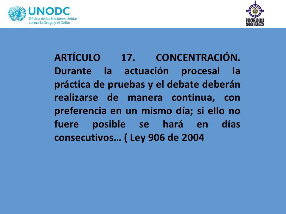 ARTÍCULO 17. CONCENTRACIÓN