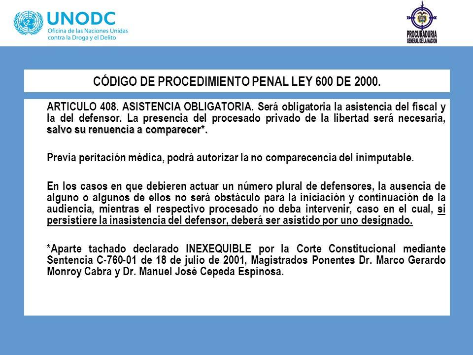 CÓDIGO DE PROCEDIMIENTO PENAL LEY 600 DE 2000.