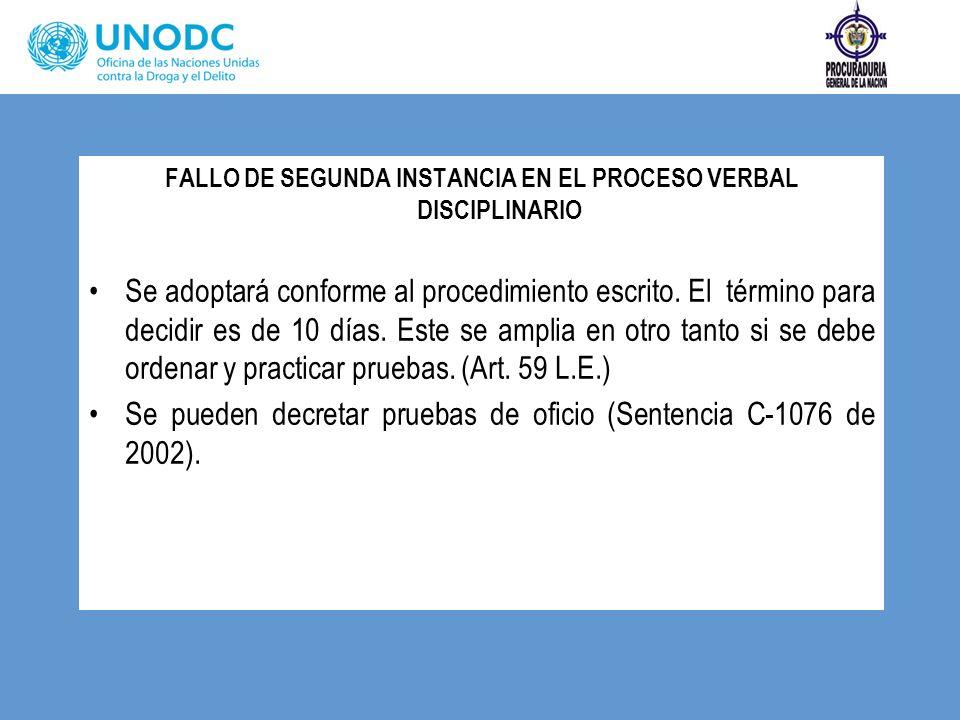FALLO DE SEGUNDA INSTANCIA EN EL PROCESO VERBAL DISCIPLINARIO