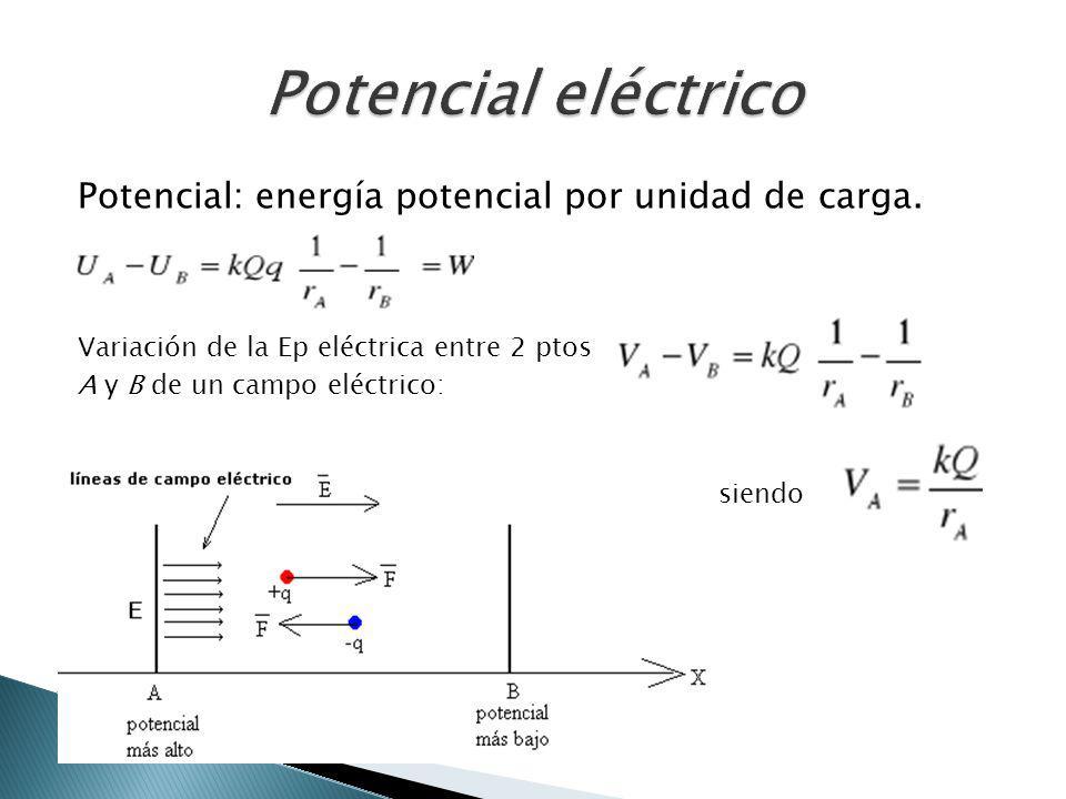 Potencial eléctrico Potencial: energía potencial por unidad de carga.