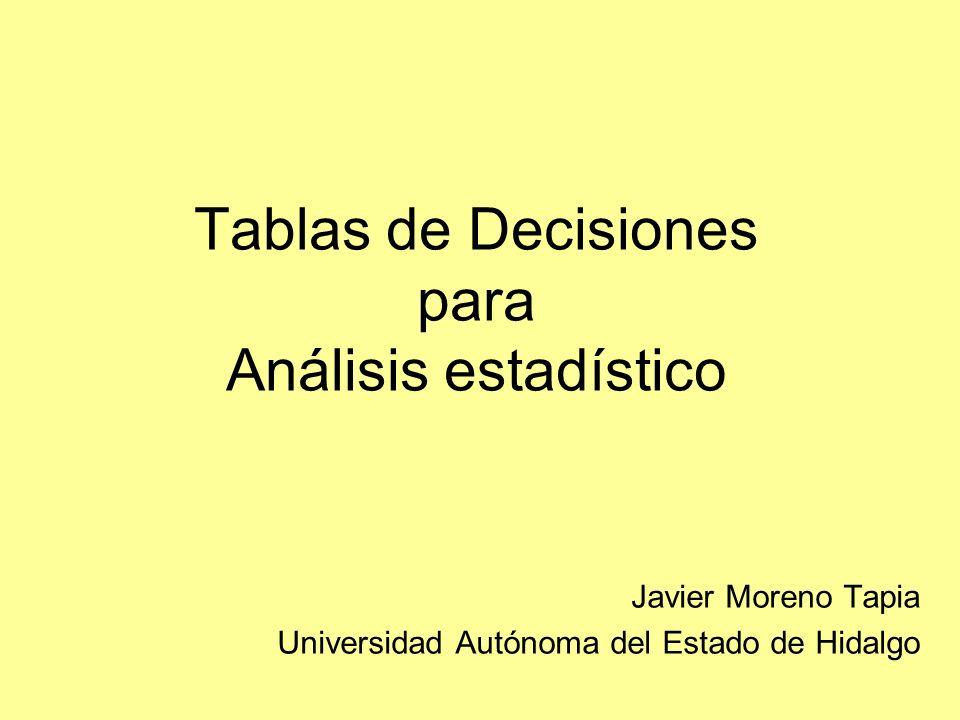 Tablas de Decisiones para Análisis estadístico