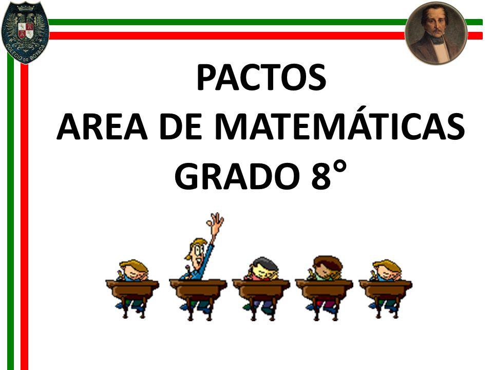 AREA DE MATEMÁTICAS GRADO 8°