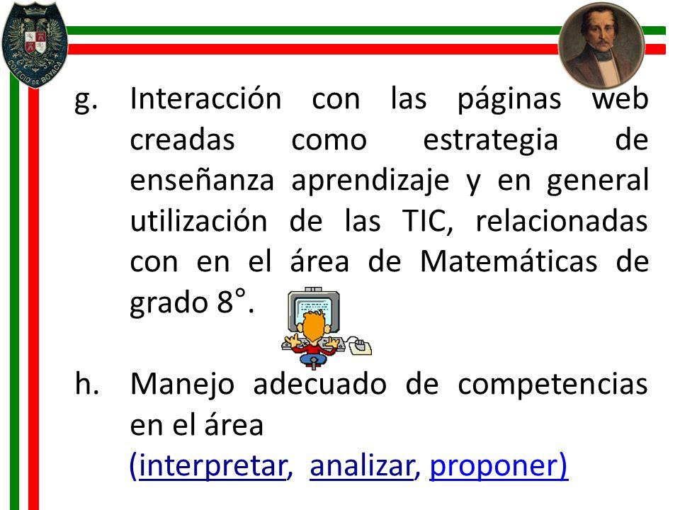 Interacción con las páginas web creadas como estrategia de enseñanza aprendizaje y en general utilización de las TIC, relacionadas con en el área de Matemáticas de grado 8°.