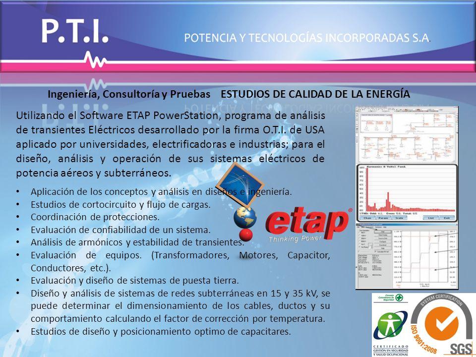 Ingeniería, Consultoría y Pruebas ESTUDIOS DE CALIDAD DE LA ENERGÍA