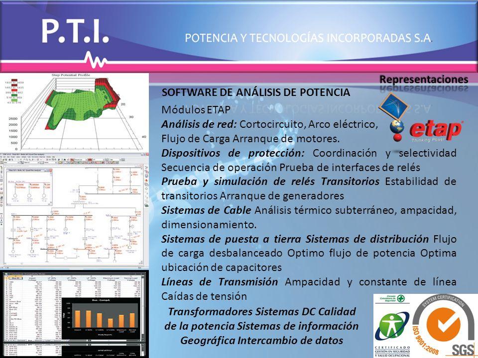 Representaciones SOFTWARE DE ANÁLISIS DE POTENCIA. Módulos ETAP. Análisis de red: Cortocircuito, Arco eléctrico,