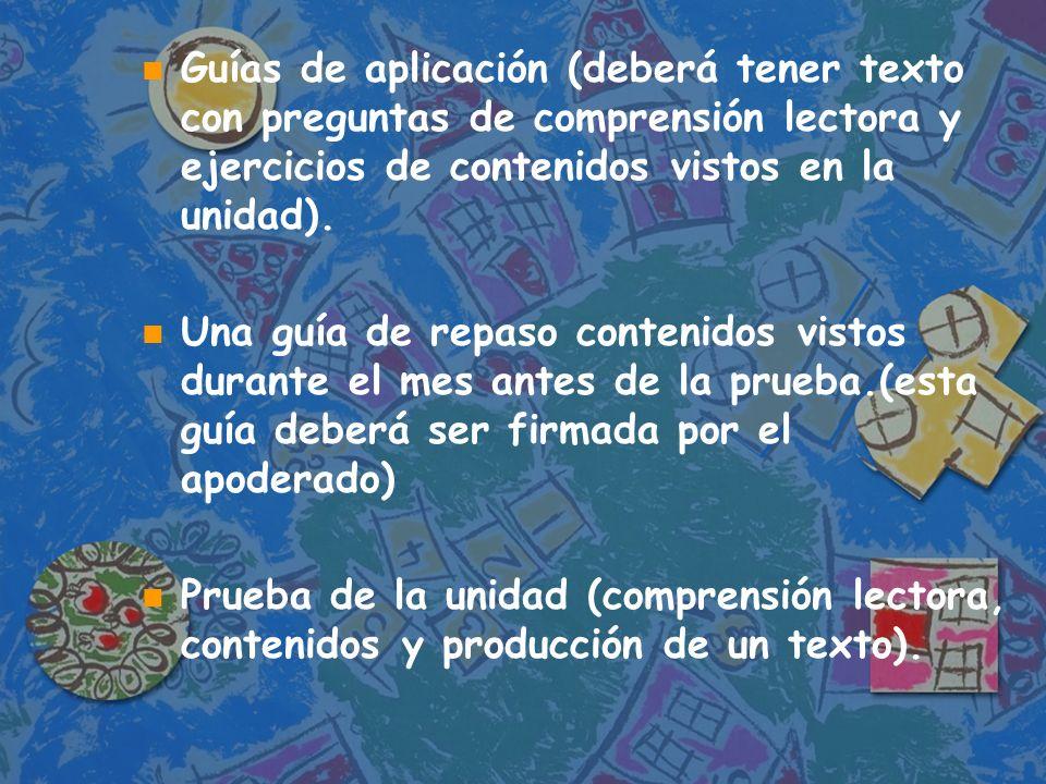 Guías de aplicación (deberá tener texto con preguntas de comprensión lectora y ejercicios de contenidos vistos en la unidad).