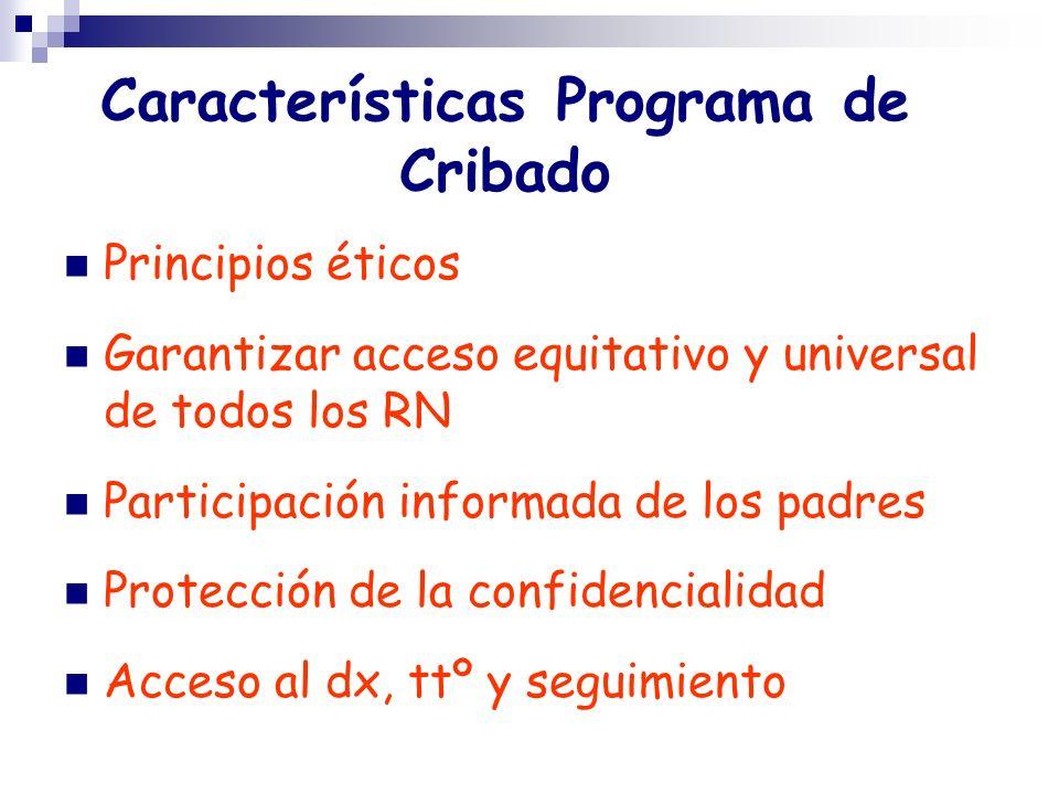 Características Programa de Cribado
