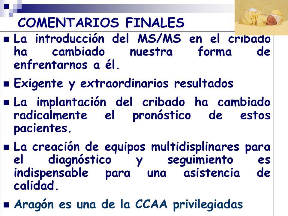 COMENTARIOS FINALES La introducción del MS/MS en el cribado ha cambiado nuestra forma de enfrentarnos a él.