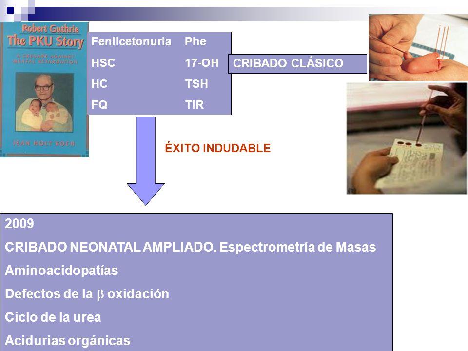 CRIBADO NEONATAL AMPLIADO. Espectrometría de Masas Aminoacidopatías