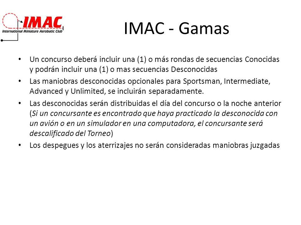 IMAC - Gamas Un concurso deberá incluir una (1) o más rondas de secuencias Conocidas y podrán incluir una (1) o mas secuencias Desconocidas.