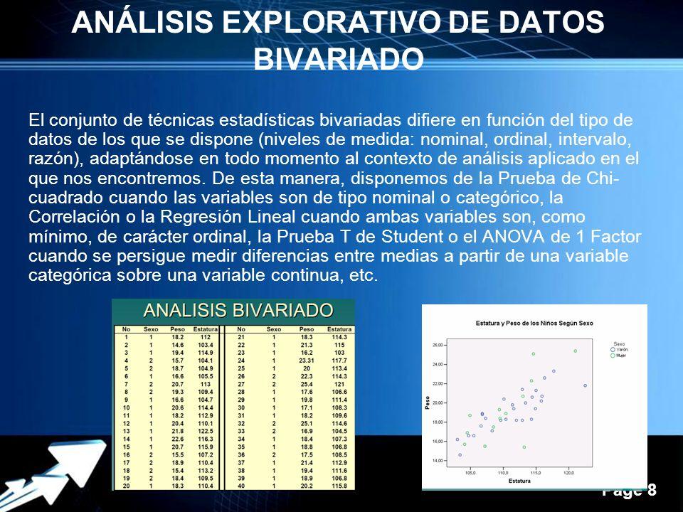 ANÁLISIS EXPLORATIVO DE DATOS BIVARIADO