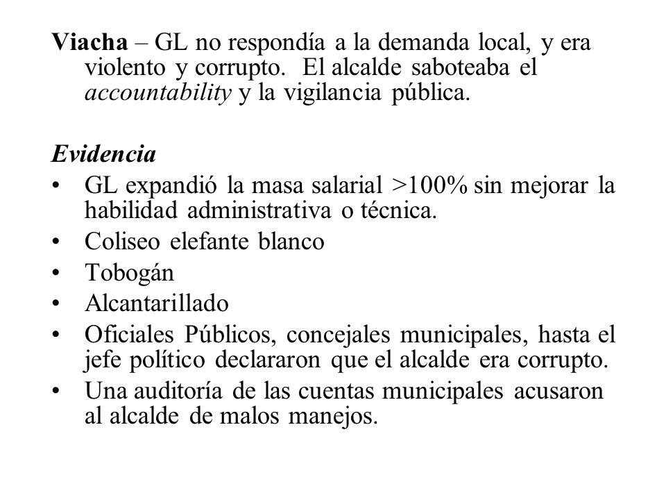 Viacha – GL no respondía a la demanda local, y era violento y corrupto