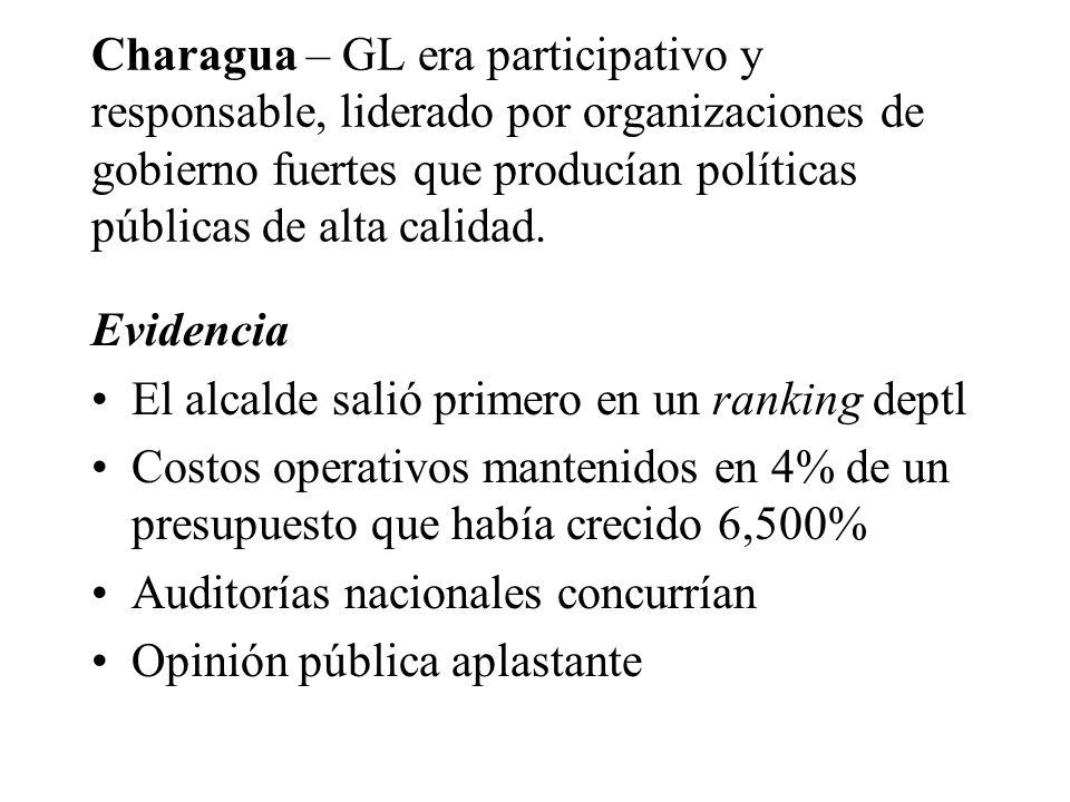 Charagua – GL era participativo y responsable, liderado por organizaciones de gobierno fuertes que producían políticas públicas de alta calidad.